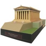 Papercraft building imprimible y armable del Partenón de Gracia. Manualidades a Raudales.