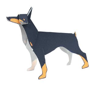 Papercraft model - Perro Doberman