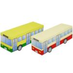 Paper model imprimible y armable del Autobús / Bus de juguete para la mini-ciudad / craftown. Manualidades a Raudales.