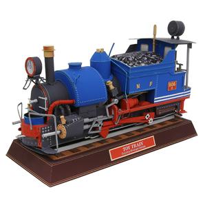 Papercraft recortable de una Locomotora de Juguete. Manualidades a Raudales.