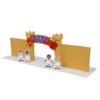 Papercraft imprimible y armable de la entrada al parque de atracciones. Manualidades a Raudales.
