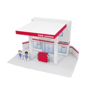 Papercraft de una Gasolinera. Manualidades a Raudales.