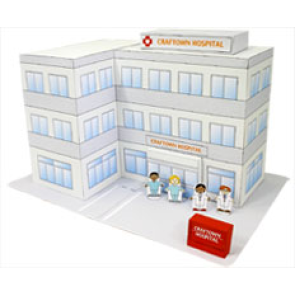 Papercraft imprimible y armable del Hospital para la mini-ciudad / craftown. Manualidades a Raudales.