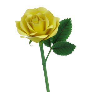 Paper model imprimible y armable de una Rosa amarilla. Manualidades a Raudales.