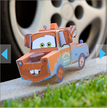 Papercraft imprimible y armable de Mate la Grúa / Tow Mater. Manualidades a Raudales.